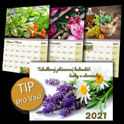 !!!VÝHODNÁ NABÍDKA!!! – Závěsný tabulkový plánovací BYLINKOVÝ kalendář (ZTN)